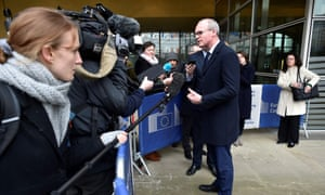 Simon Coveney speaking to journalists in Brussels today.