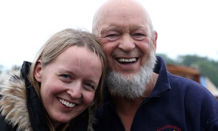 Emily and Michael Eavis pictured at Glastonbury 2013.
