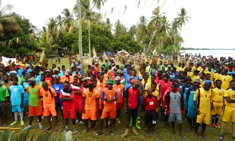 Locals protest against mine at PNG's Sepik River region.