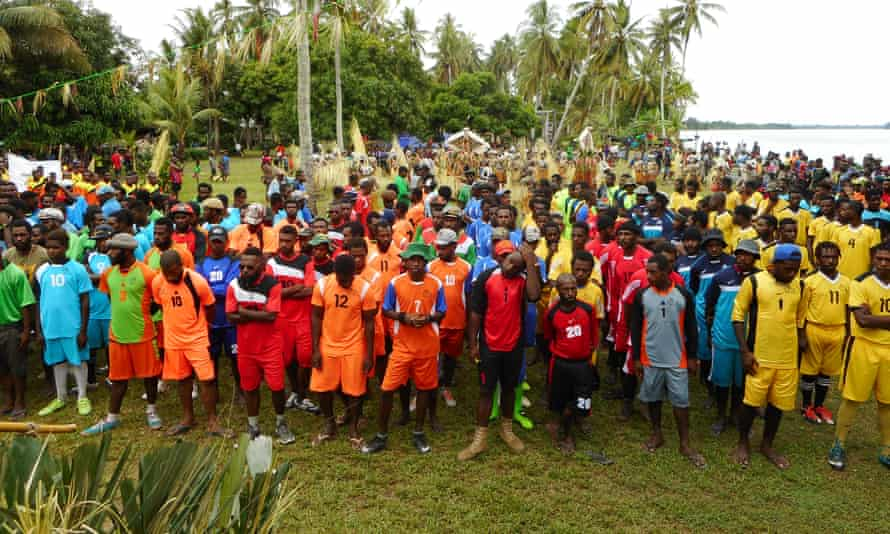 Locals protest against the proposed mine project at the Sepik river in Papua New Guinea