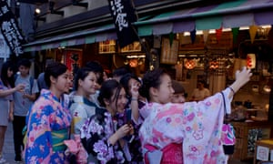 Tourists in rented kimonos in the Gion district of Kyoto.