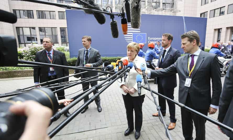 Angela Merkel before the EU Brexit summit in Brussels.
