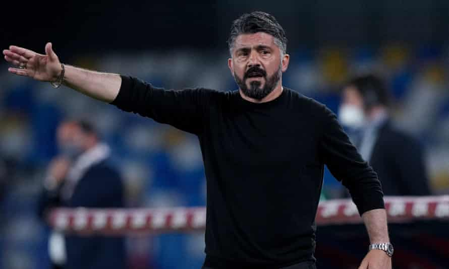 Gennaro Gattuso during his final game as manager of Napoli last month.