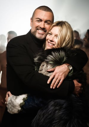George Michael with model Kate Moss during the making of the video for comeback single White Light in June 2012.