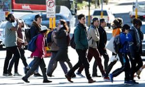 Sydney workers walking