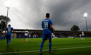 Kosovo's Leart Paqarada in action during his team's first official international soccer friendly against the Faroe Islands.