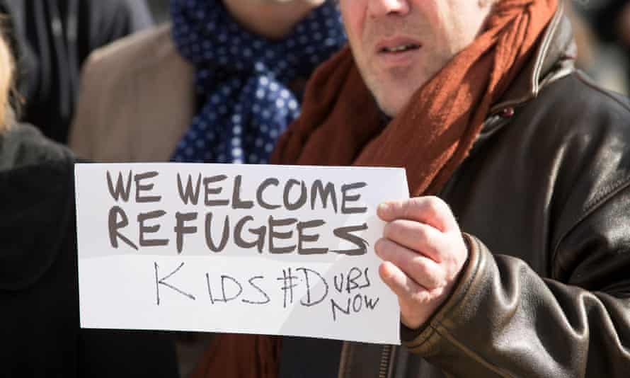 A protest in Westminster after the number of child refugees to be accepted under the Dubs scheme was limited at 350.