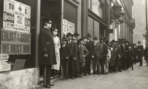 A queue in San Francisco during the Spanish flu epidemic, 1918.