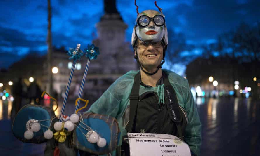 Michel, an artist who hopes to be a candidate in the 2017 French presidential elections, joins the protesters in Paris.