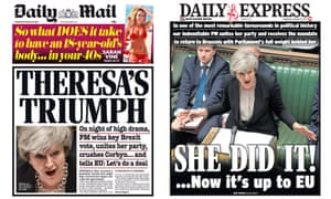 The Mail and Express hail the Commons vote as a triumph for Theresa May, but others said she had caved in to hardliners.