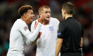 England's Dele Alli and Eric Dier appeal to referee Danny Makkelie after Danny Welbeck (not pictured) had a goal disallowed