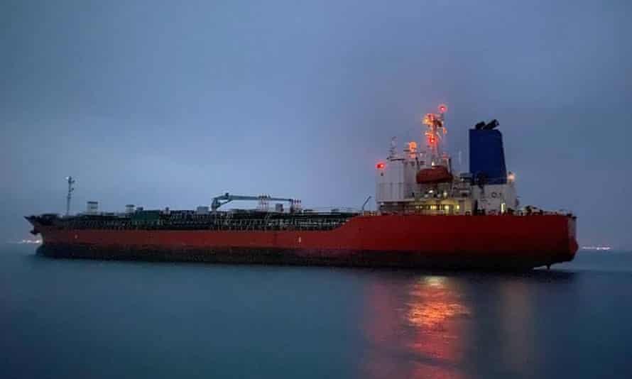The South Korean-flagged tanker Hankuk Chemi leaves the Iranian port of Rajai on Friday.