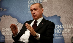 Recep Tayyip Erdoğan speaks at Chatham House in central London.