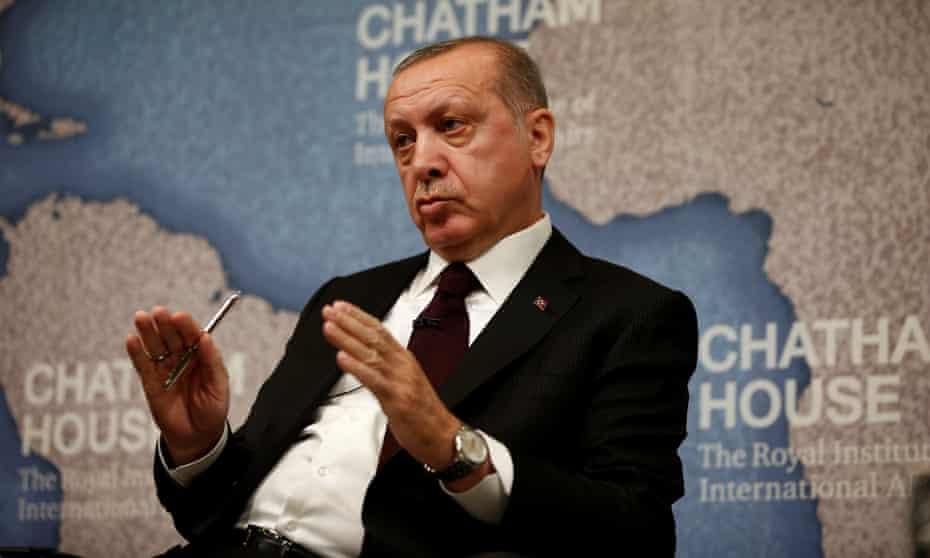 Recep Tayyip Erdoğan speaks at Chatham House in central London.