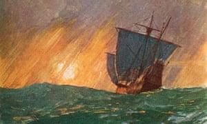Christopher Columbus sailing westward.