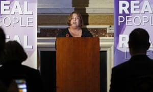 Lisa Duffy at the launch of her Ukip leadership campaign in London