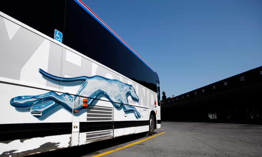 A Greyhound bus is parked at a bus terminal in Ottawa.