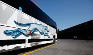 A Greyhound bus at a terminal in Ottawa.