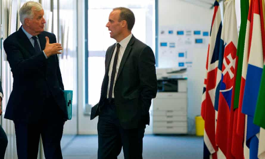 Barnier talks to Britain's second Brexit secretary, Dominic Raab, in September 2018. Raab later resigned.