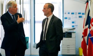 Michel Barnier (L) talks with Dominic Raab before a meeting in Brussels