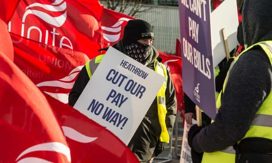 Unite members hold a picket line at Hatton Cross, Heathrow, in December 2020