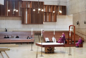 Archbishop Jose H. Gomez (2nd R) leads Sunday Mass at the Cathedral of Our Lady of the Angels on March 15, 2020 in Los Angeles, California. Archbishop Gomezs recommendations for limiting the spread of Coronavirus (COVID-19) among the faithful include limiting Mass attendance to 250 people, which follows California public health guidelines, and maintaining social distancing during Mass.