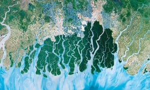 A satellite image of the Sundarbans in the Bay of Bengal, the largest delta in the world, taken as part of Earth from Space.