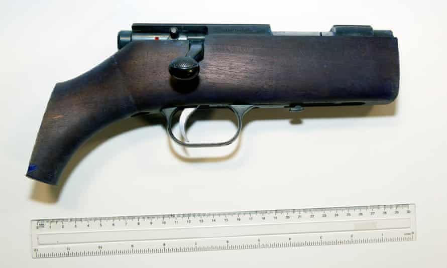 A firearm that was presented in evidence during the trial of Thomas Mair.