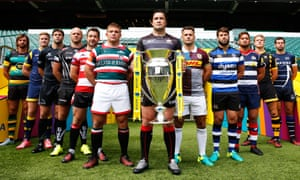 The captains of the twelve Premiership clubs pose ahead of the start of the 2016-17 season. Come the end of the season, just two of these clubs had made a profit.