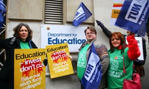 Protesters with placards: 'Education – invest, don't cut. Save our sixth-form colleges'