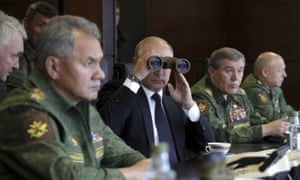 Vladimir Putin watches the Zapad-2017 war games, held by Russian and Belarussian servicemen at a military training ground in the Leningrad region.