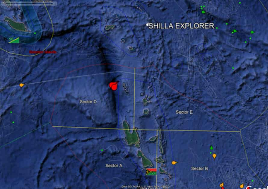 A satellite image showing the location - indicated by red pins - where two Chinese vessels, suspected of illegal fishing, were detained by Vanuatu authorities.