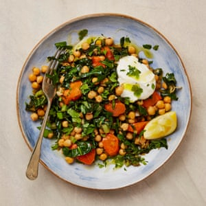 The quick supper: Yotam Ottolenghi's chickpeas and Swiss chard with yoghurt.