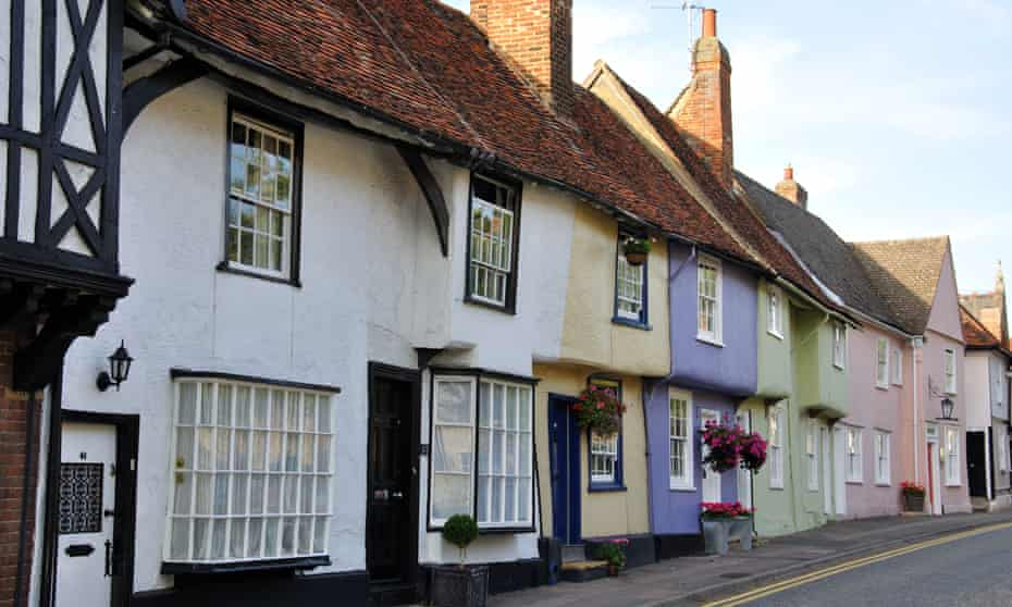 Colourful period cottages, Castle Street, Saffron Walden, Essex