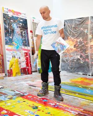 Marc Quinn painting at his London studio, April 2020