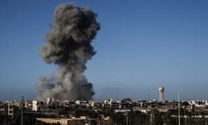 An airstrike on Islamic State militants in Sirte, Libya in 2016.