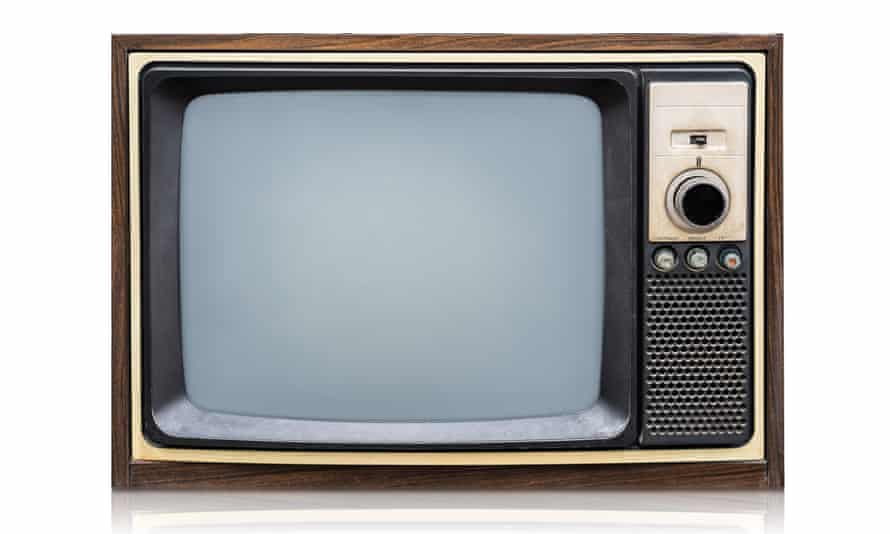 An old television on a white background