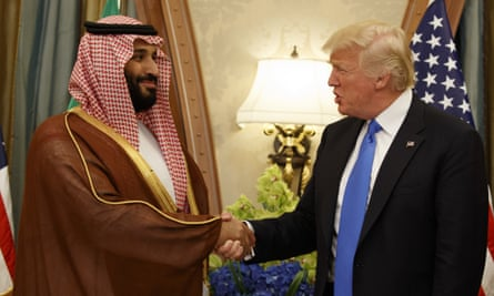 Donald Trump with Mohammed bin Salman. Trump declined to blamed Prince Mohammed for Jamal Khashoggi's murder: 'I don't know if anyone's going to be able to conclude the crown prince did it.'