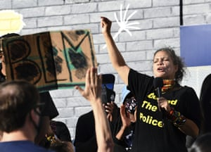 Melina Abdullah speaks during a Black Lives Matter-Los Angeles news conference last month.