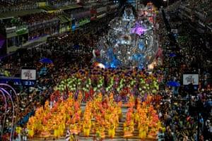 Members of the Viradouro samba school perform at the Sambadrome in Rio de Janeiro, Brazil