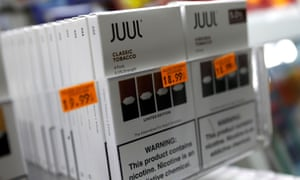 Juul brand vaping pens for sale in a US shop.