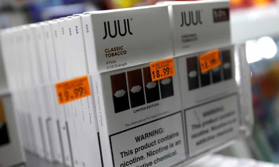 Juul brand vaping pens for sale in a shop in Manhattan.