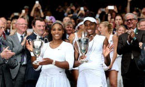 Serena and Venus celebrate winning the women's doubles at Wimbledon last year. Saturday's final offers a showcase of the sisters' extraordinary longevity.