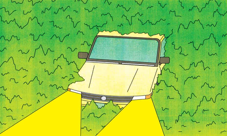 stoned driving illustration - car in green