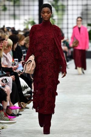 A model in a Valentino dress.