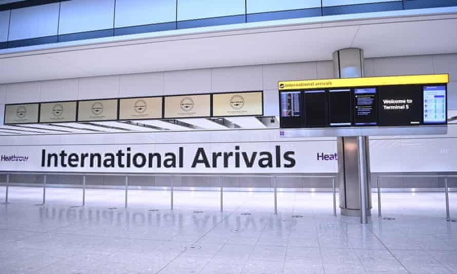 The international arrivals area at Heathrow Airport, London.