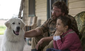 Maremma dog Oddball pictured with Allan 'Swampy' Marsh (Shane Jacobson) and Olivia (Coco Jack Gillies).