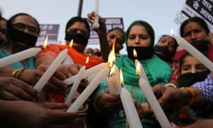 Indian women protest to bring attention to the rape of women and girls in India.