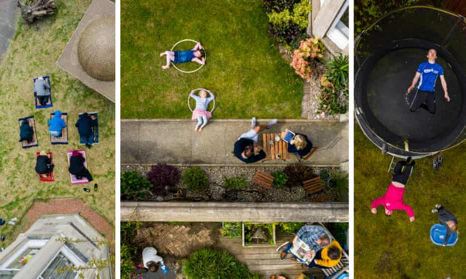 Three drone photographs of Edinburgh gardens from above: a family praying on prayer mats; children playing with Hula-Hoops while their parents sit at a table; and boys playing on a trampoline