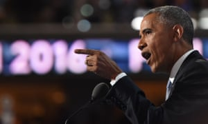 US President Barack Obama speaks to delegates on Day 3 of the Democratic National Convention at the Wells Fargo Center, July 27, 2016 in Philadelphia.